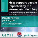 GIVIT coordinating donations and offers of assistance to help people affected by severe storms and flooding
