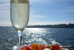 Champagne & fresh fruit salad - yummy!